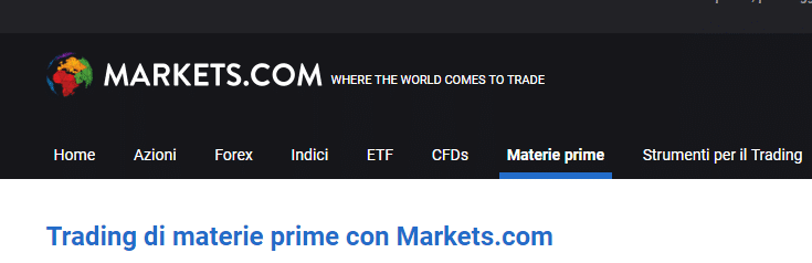 markets trading materie prime