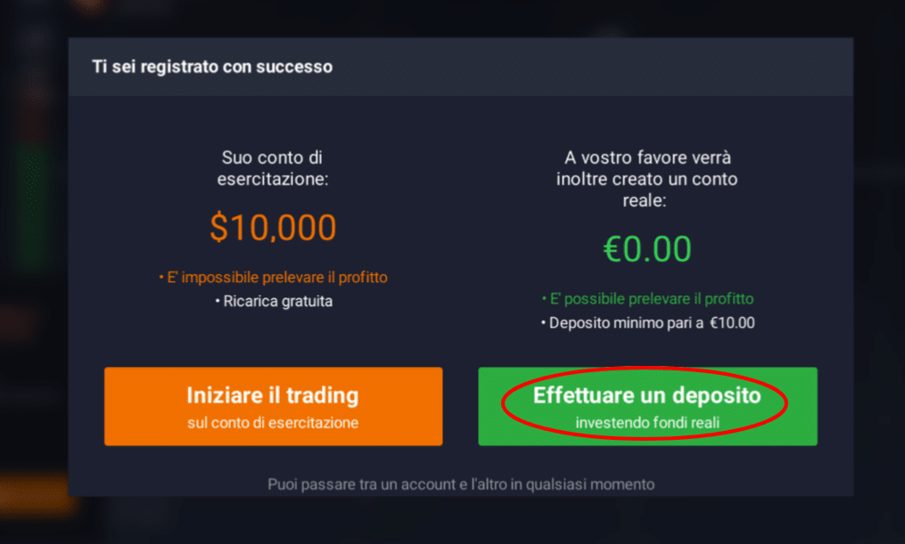 come depositare su iq option