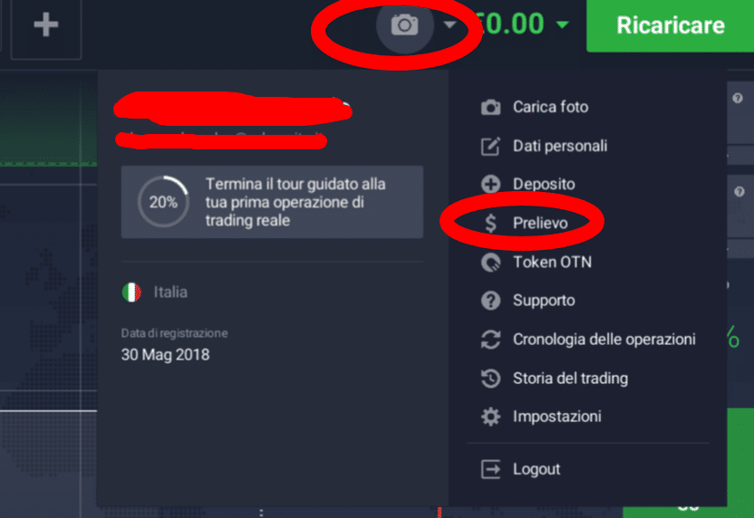 prelevare fondi iq option