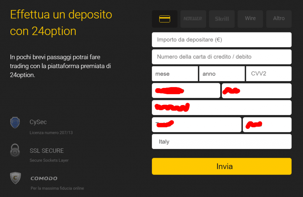 primo deposito 24option