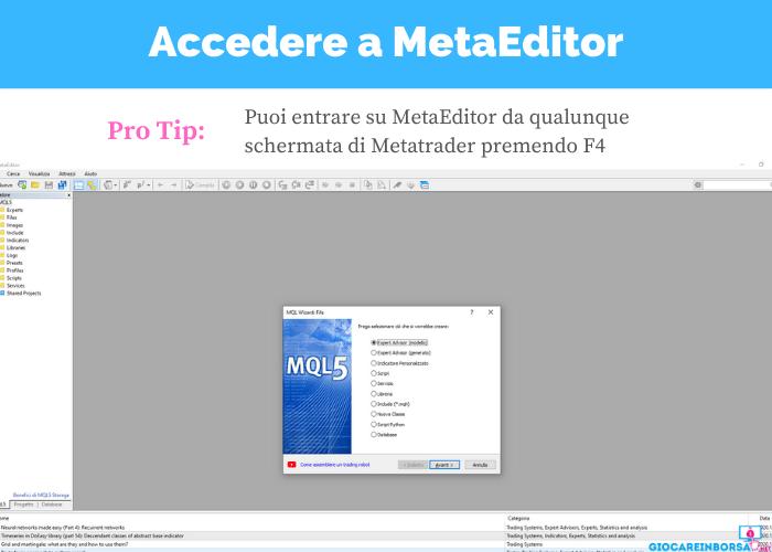 metatrader come aprire metaeditor con scorciatoia da tastiera