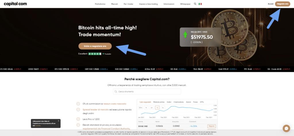 aprire un conto demo con capital.com per fare trading algoritmico con TradingView