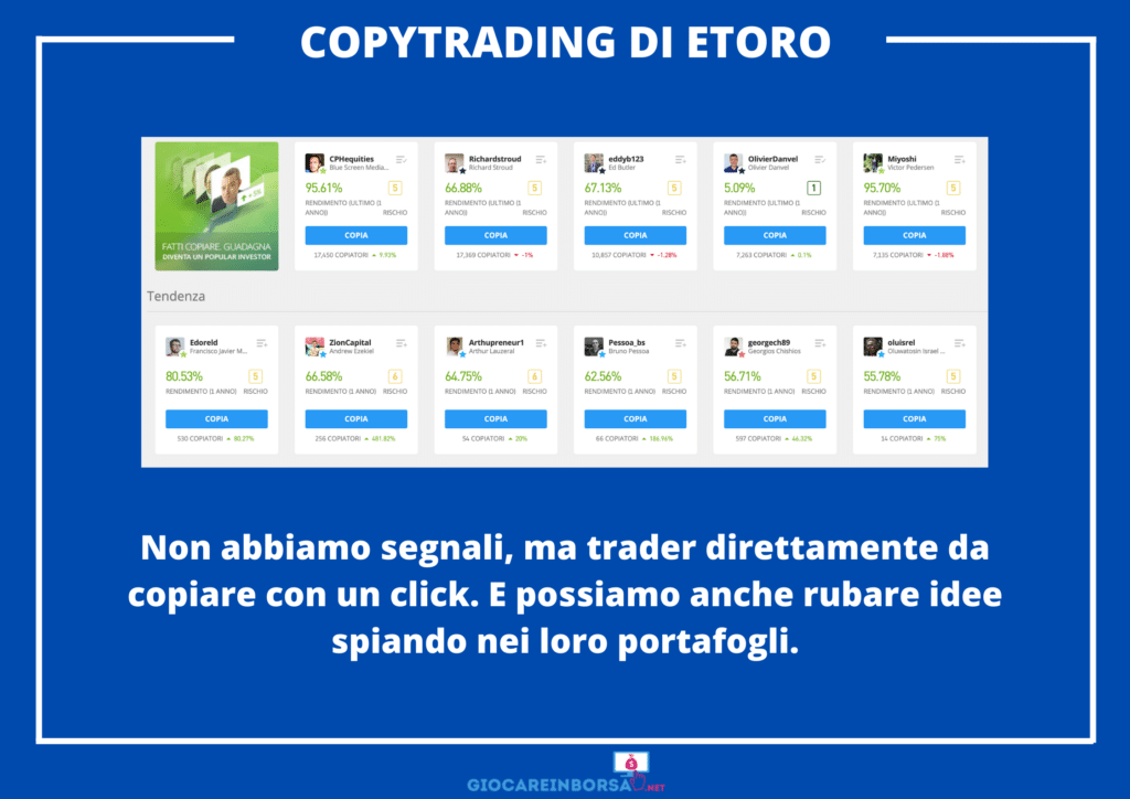 CopyTrading di eToro - alternativa ai segnali - infografica di GiocareInBorsa.net